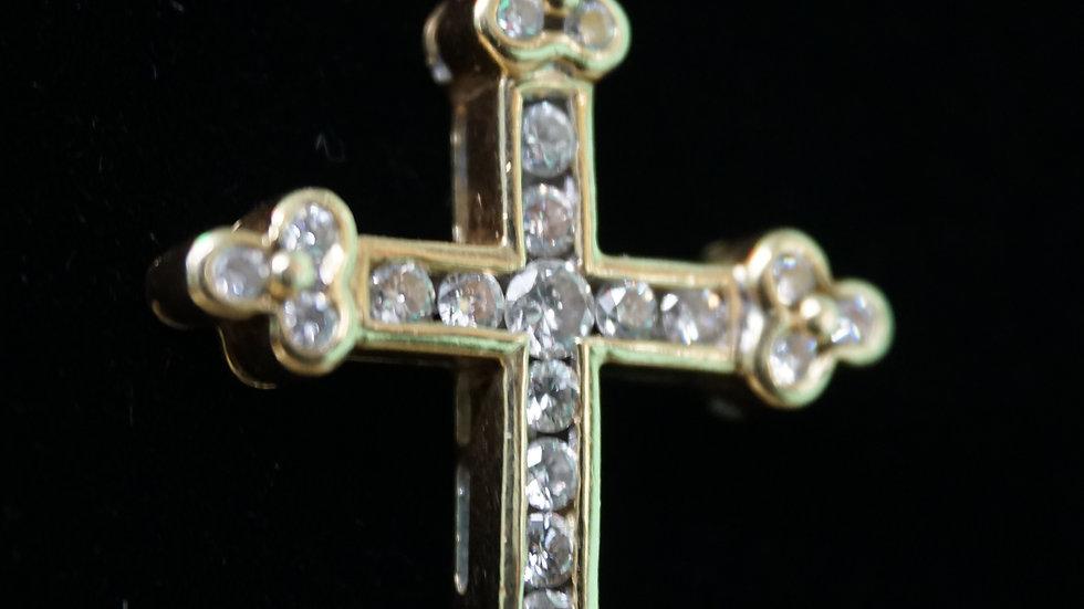 14k Toilet Chain with Diamond Cross