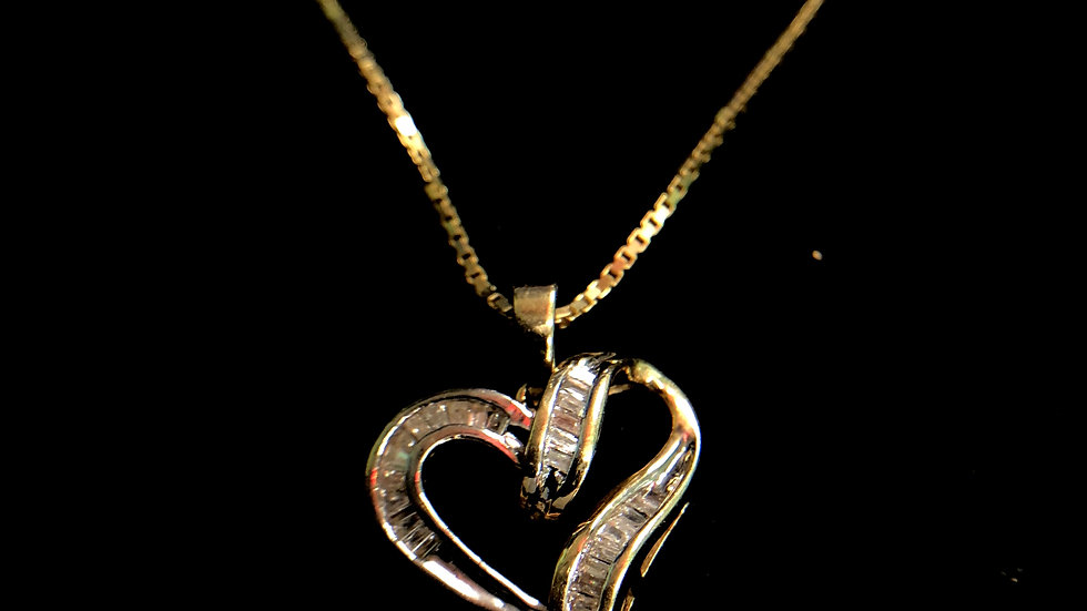14k Chain with Diamond Heart Charm