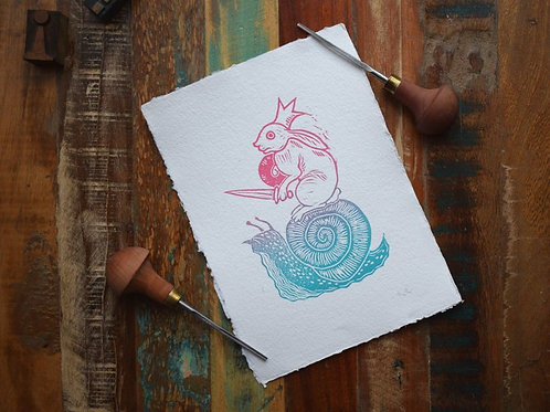 Snail, Lino Cut Print by Jack Conkie, Right Villianous Chapbooks,Limited Edition