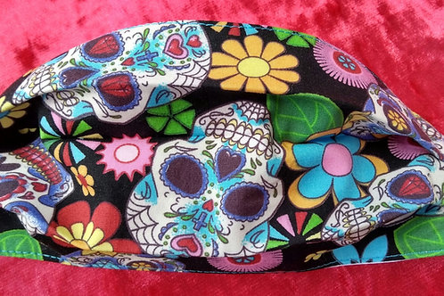 Sugar skulls on Black, Facemask,Fabric mask, Washable, TRIPLE LAYER