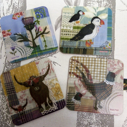 Abigail Mills Tweedie Coasters, Pack of 4