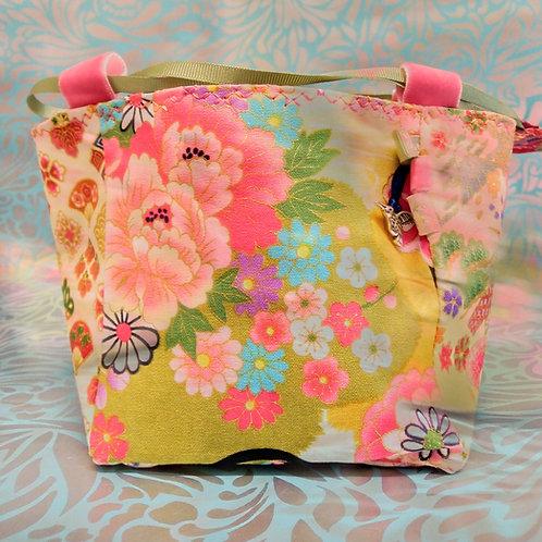 Fresh Spring Japanese Fabric Rice Bag, Make-up Bag, Easter Basket, Gift For Her