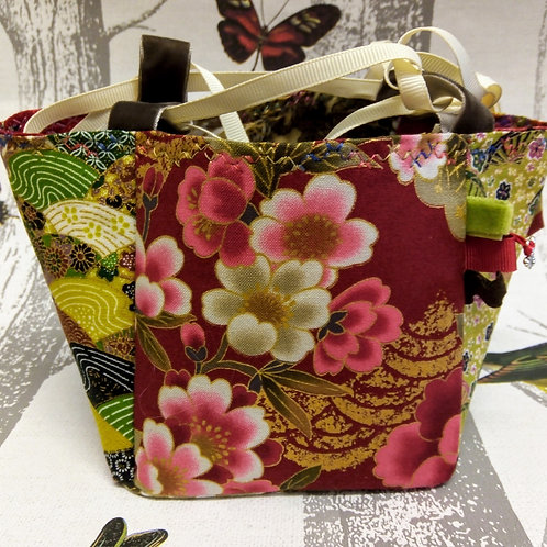 Green and Red Japanese Fabric Rice Bag