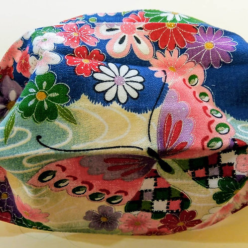 Blue and pink Garden Japanese Fabric, Facemask, TRIPLE LAYER