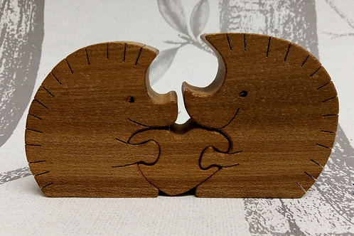 Three Piece Hedgehog Wooden Puzzle
