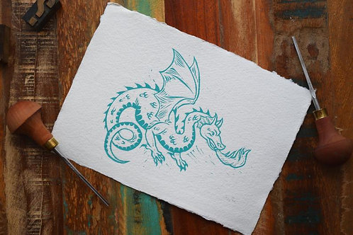 Dragon, Lino Cut Print by Jack Conkie, Right Villianous Chapbooks,Limited