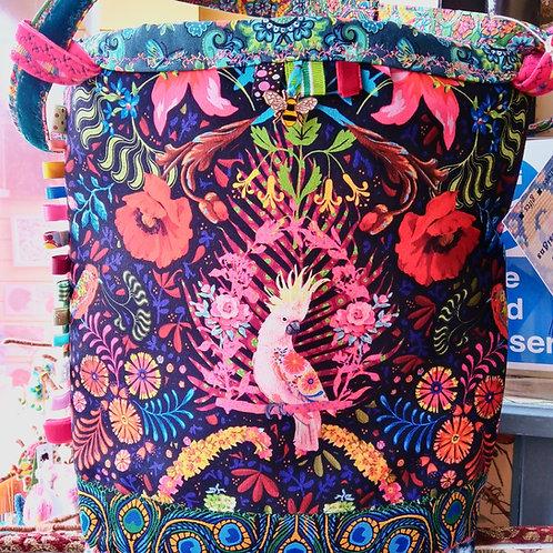Beautiful Pink Cockatoo Unique Handbag, Velvet Odile Bailloeul Bag