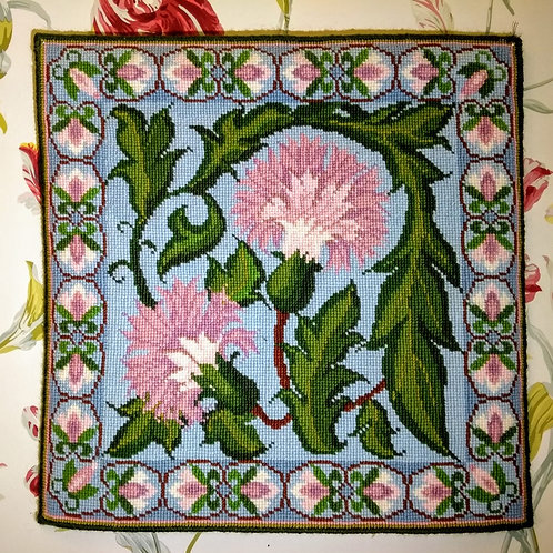 Blue Carnation Tapestry Cushion Kit, Charted Floral Needlepoint Kit