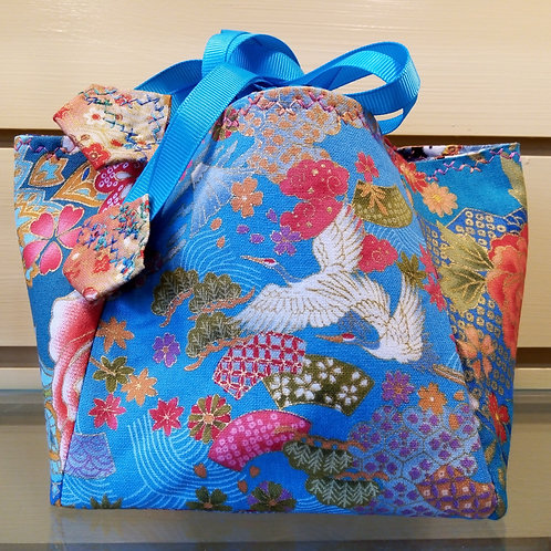 Turquoise and Blue Japanese Fabric Rice Bag