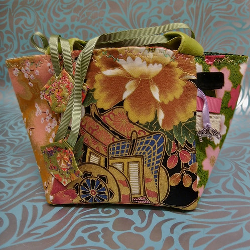 Sage Green, Apricot and Black Japanese Fabric Rice Bag
