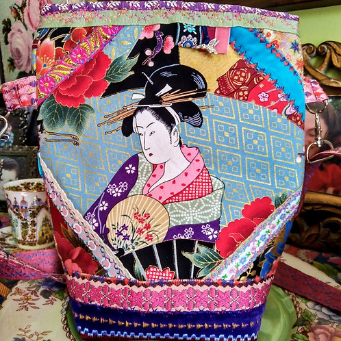 Stunning Japanese Geisha Fabric Bag, Quirky, Unique, Embroidered Bag