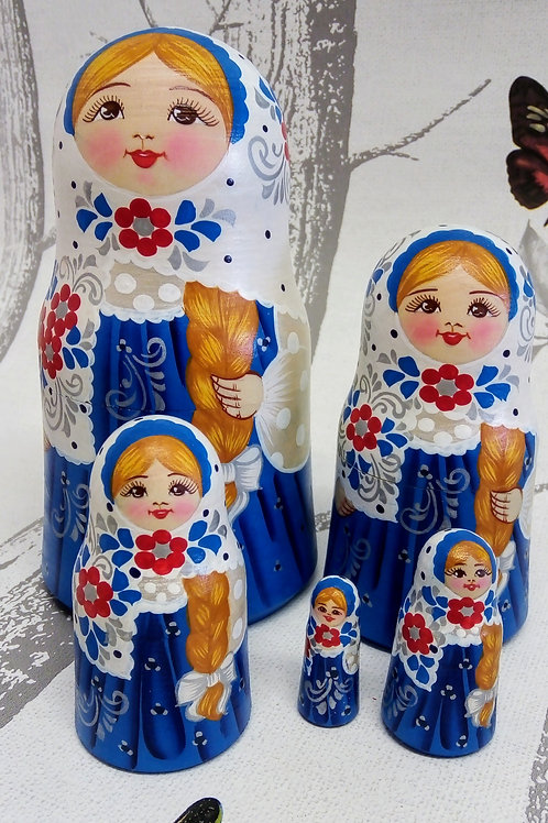 Blue and white, Floral Russian Matryoshka Doll