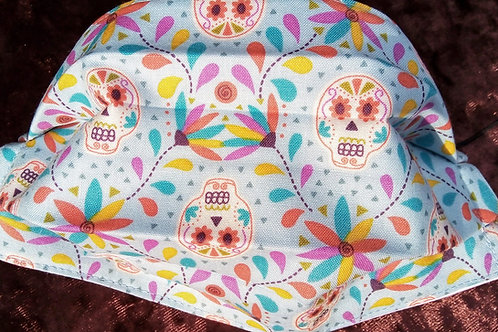 Sugar skull On Pale Blue, Facemask,Fabric mask, Washable, TRIPLE LAYER