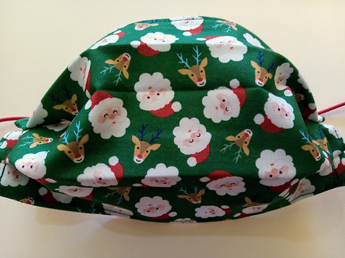 Santa Claus on Green, Facemask,Fabric mask, Washable, TRIPLE LAYER