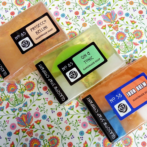Fun Drinks selection of Glasgow Soap Company Soaps, Three pack