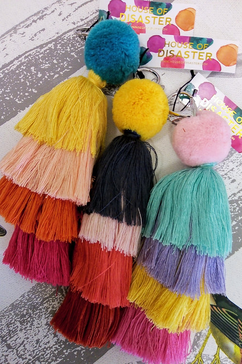 Pom Poms Keyring or Bag Charm by House of Disaster