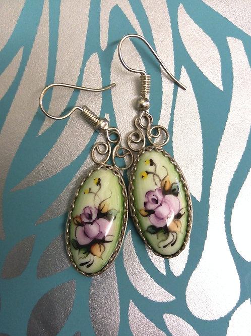 Green Finift Handpainted Earrings, Finift Filigree,