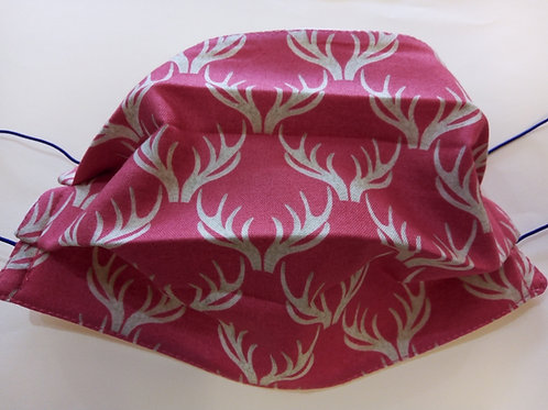Antlers on Red, Facemask,Fabric mask, Washable, TRIPLE LAYER
