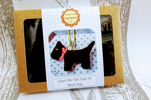 Black Dog, Corinne Lapierre Felt Kit, Craft kit