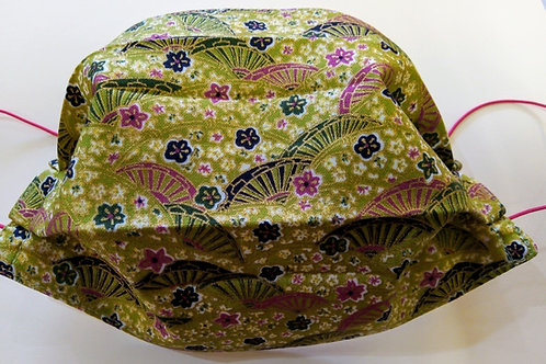 Green Fan Japanese Fabric, Facemask,Fabric mask, Washable, TRIPLE LAYER