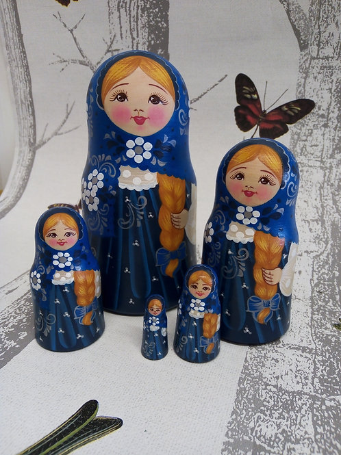Navy Blue and white, Floral Russian Matryoshka Doll