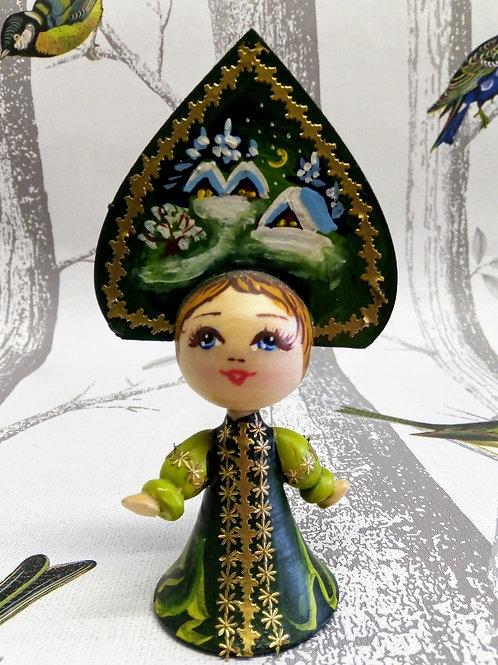 Green Winter Scene, Handpainted Dancing Girl