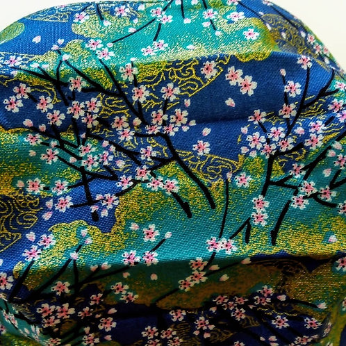 Turquoise Blossom, Japanese Fabric, Facemask,Fabric mask, Washable, TRIPLE LAYER