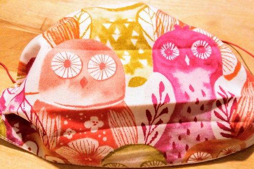Facemask Bright Owls TRIPLE LAYER cotton washable.
