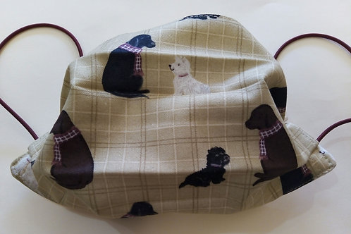 Labrador and Westie, Facemask,Fabric mask, Washable, TRIPLE LAYER