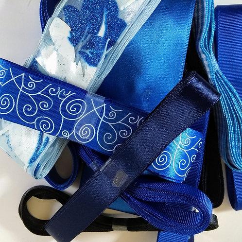 BLUE Pot Luck Bundle of 5 X 3m ribbons