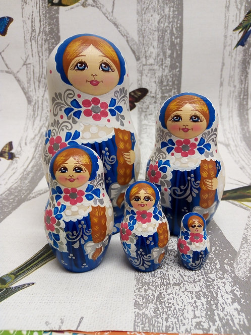 Blue, Red and white, Floral Russian Matryoshka Doll