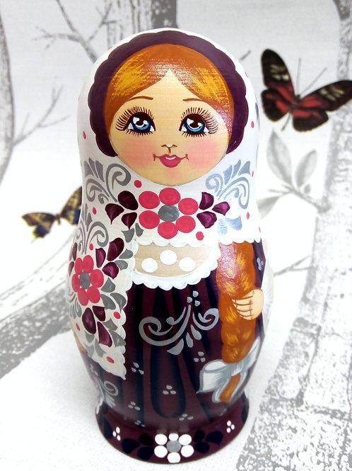 Purple Floral Russian Matryoshka Doll