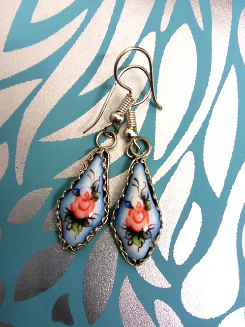 Pale Blue Finift Handpainted Earrings, Finift Filigree,