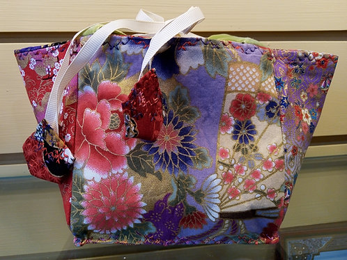 Lilac, Purple and Red Japanese Fabric Rice Bag