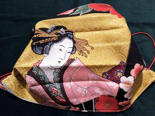 Geisha in Pink Japanese Fabric,Facemask TRIPLE LAYER cotton washable.