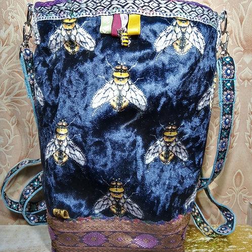 Navy Velvet Bee Small Cross Body Bag, Blue Velvet Bee Bag