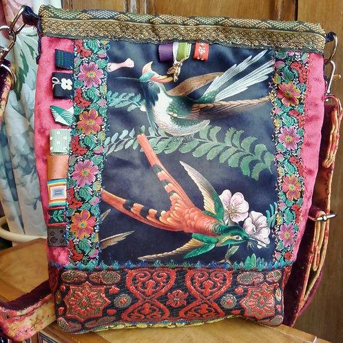 Hummingbird Velvet Small Cross Body Bag, Adjustable Strap, Unique Bag, Handy Bag