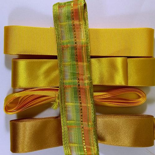 Yellow Pot Luck Bundle of 5 X 3m ribbons