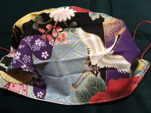 Crane and Blossom Japanese Fabric,Facemask TRIPLE LAYER cotton washable.