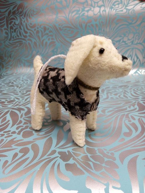 White Terrier, Felt dog, Fair Trade Hanging Decoration.
