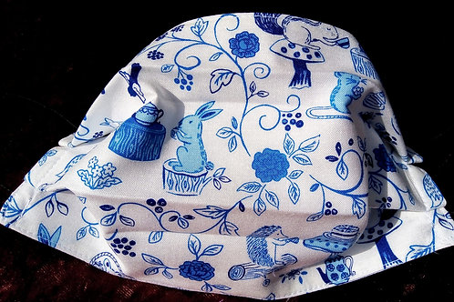 Facemask,Fabric mask, Washable, Triple layer Cotton, Blue and White Meadow