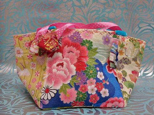 Blue Spring Japanese Fabric Rice Bag, Make-up Bag, Easter Basket, Gift For Her