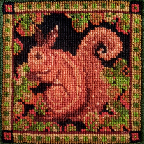 Red Squirrel Tapestry Cushion Kit, Squirrel Cross Stitch Counted Tapestry Kit,