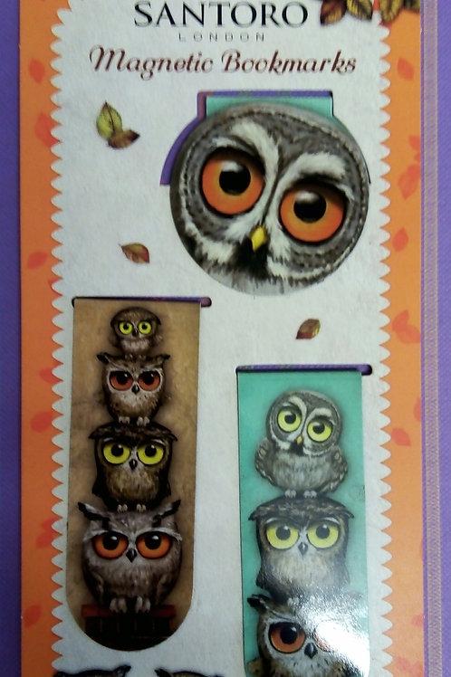 Book Owl Magnetic Bookmarks, Three Set, Stocking Filler, Santoro