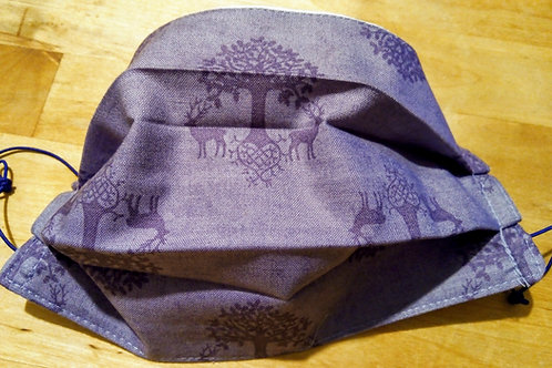 Facemask, Stag and Tree, Purple. TRIPLE LAYER cotton washable.