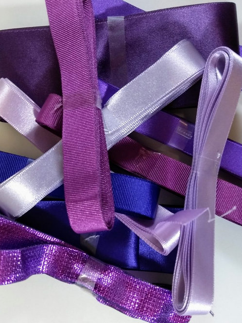 PURPLE Pot Luck Bundle of 5 X 3m ribbons