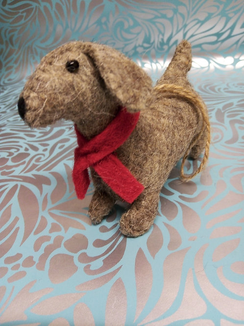 Felt dog, Dachshund, Fair Trade Hanging Decoration.