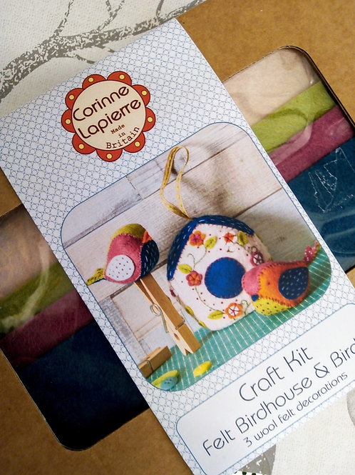 Pair of Sweet Birds and a Bird House , Corinne Lapierre Felt Kit, Craft kit