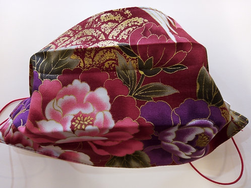 Red Peony Japanese Fabric,Facemask TRIPLE LAYER cotton washable.
