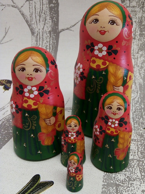 Red and Green, Floral Russian Matryoshka Doll